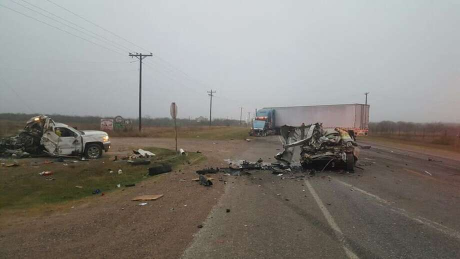 The aftermath of a fatal three-vehicle collision that occurred Tuesday morning on Texas 359 is pictured. Photo: Courtesy Photo