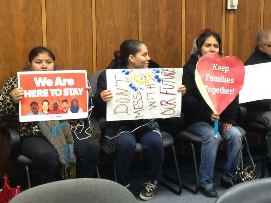 Immigrant families waiting for Bridgeport School board to consider making the district a safe haven for their families Photo: Linda Conner Lambeck / Linda Conner Lambeck