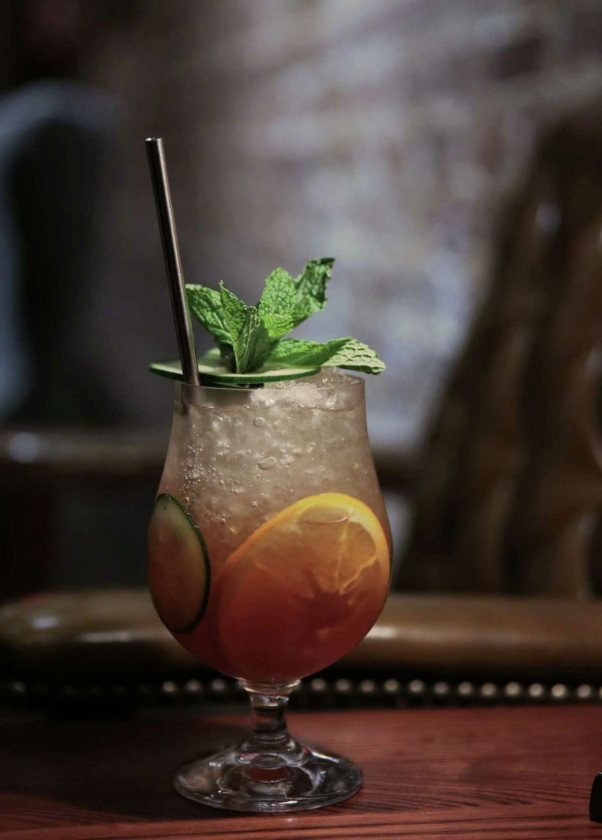 A Pimm's Spritzer at Tongue-Cut Sparrow, 310 Main, in downtown Houston.