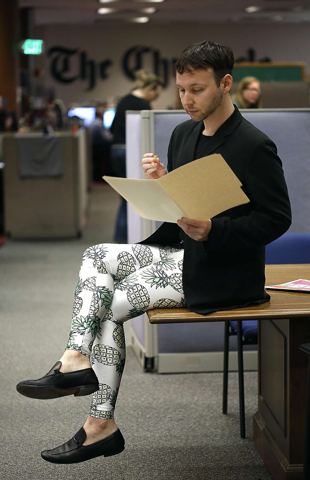 Writer Tony Bravo wears meggings in the newsroom of the San Francisco Chronicle on Tuesday, February 7, 2017, in San Francisco, Calif.