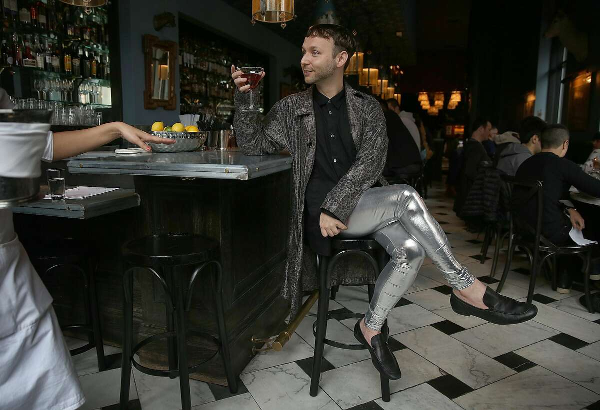 Writer Tony Bravo wears meggings while having a Manhatten at Cavalier on Tuesday, February 7, 2017, in San Francisco, Calif.