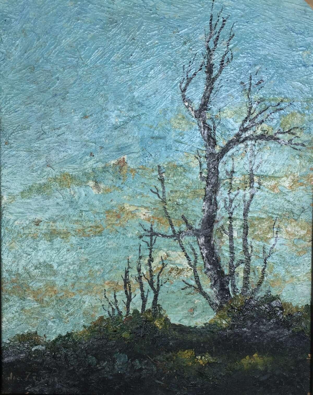 Landscape and Trees, oil on canvas, by John Zemanek.