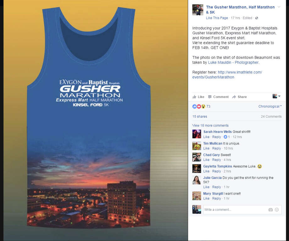 """Participants in the Gusher Marathon, Half Marathon and 5K will receive a free T-shirt with their registration. The """"free shirt guarantee"""" deadline is Feb. 14. Photo: The Gusher Marathon,  Half Marathon & 5K/Facebook"""