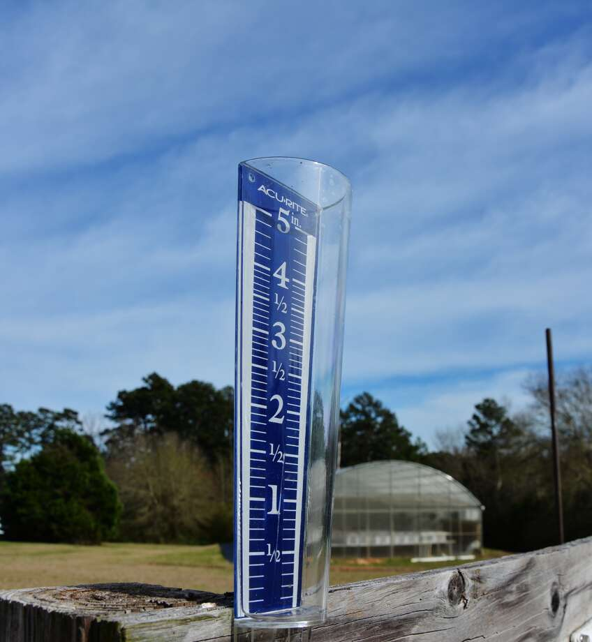 A rain gauge at the Texas A&M AgriLife Research and Extension Center in Overton sits empty. Expected rains this coming weekend could change that.