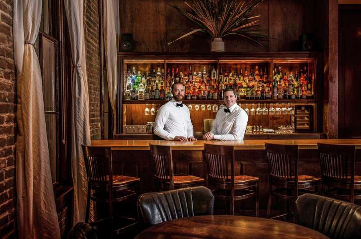 Owner Bobby Heugel and general manager Peter Jahnke at the new Tongue-Cut Sparrow bar in downtown Houston.