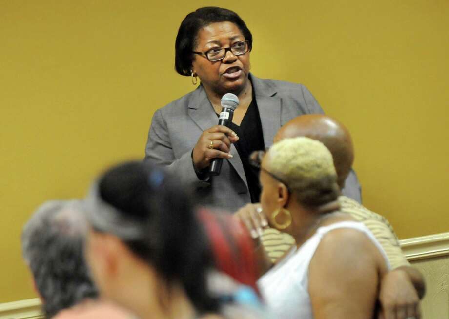 Mary Cheeks, general manager of Rivers Casino, takes a question during a job fair on Saturday, July 18, 2015, at Schenectady County Community College in Schenectady, N.Y. Rivers Casino and partner organizations were on hand to discuss training and job opportunities in the gaming industry. (Cindy Schultz / Times Union) Photo: Cindy Schultz / 00032607A
