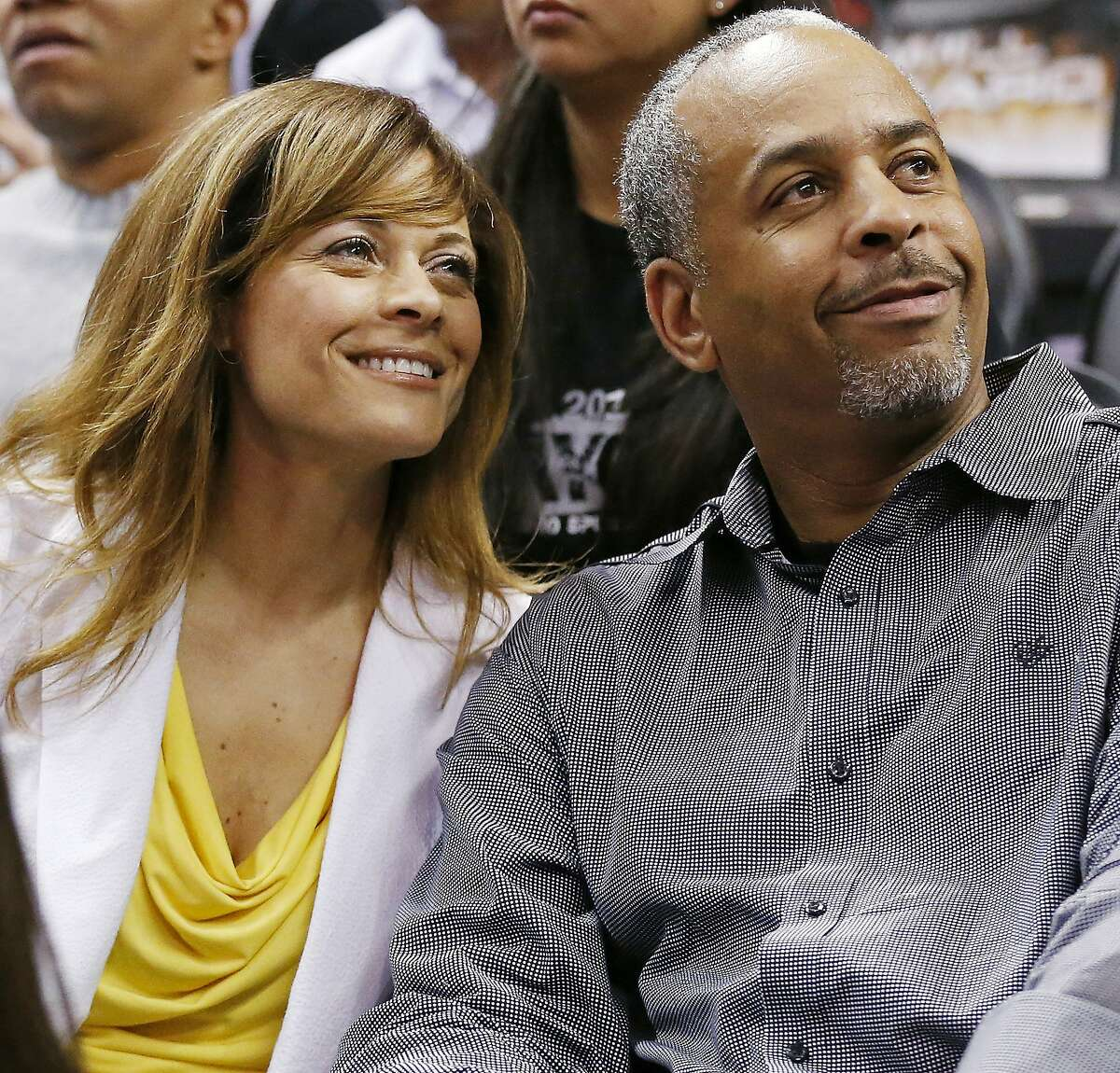 Stephen Curry's parents Sonya and Dell Curry pose for a photos during Game 2 of the NBA Western Conference semifinals against the San Antonio Spurs Wednesday May 8, 2013 at the AT&T Center.
