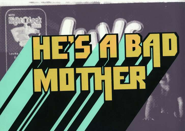 """He's A Bad Mother,"" a silkscreen print by Julia Barbosa Landois, features a lyric from the theme of the movie ""Shaft"" against a diaper brand logo."