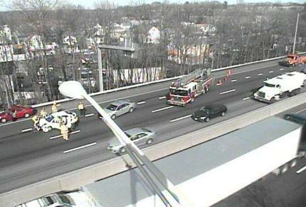 Two cars crashed on Interstate 95 in Stamford Wednesday afternoon.