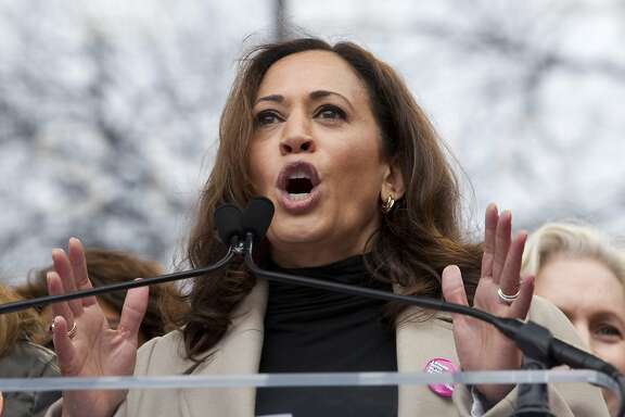 Sen. Kamala Harris, D-Calif., speaks during the Women's March on Washington, Saturday, Jan. 21, 2017 in Washington. (AP Photo/Jose Luis Magana)