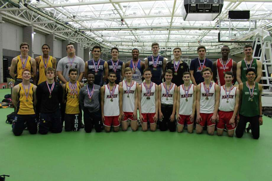 The New Milford High School boys indoor track team narrowly missed a SWC title last week. Photo: /