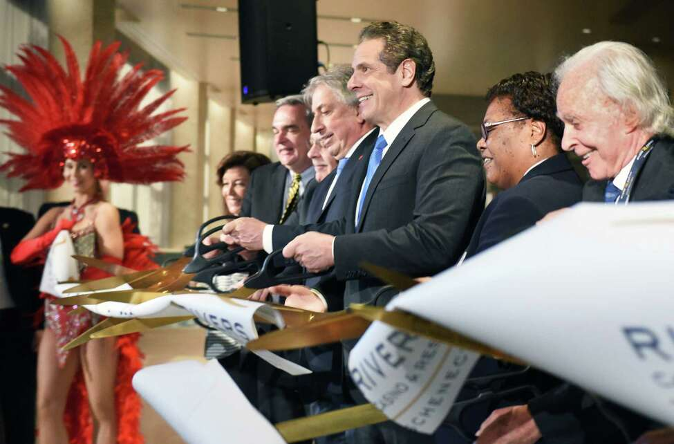 Gov. Andrew Cuomo, center, joins dignitaries in cutting the ribbon opening the Rivers Casino and Resort Wednesday Feb. 8, 2017 in Schenectady, NY. (John Carl D'Annibale / Times Union)