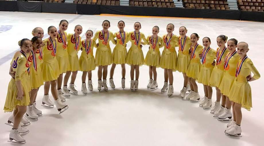 The Skyliners pre-Juvenile team poses after its performance at the 2017 Eastern Synchronized Sectional Championships in Hershey, Penn. The Skyliners took home the Gold in every division they entered. Photo: Contributed Photo / Darien News contributed