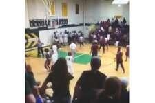 Screenshots from a fight between Silsbee High School and Little Cypress-Mauriceville High School during a Feb. 7 varsity basketball game.