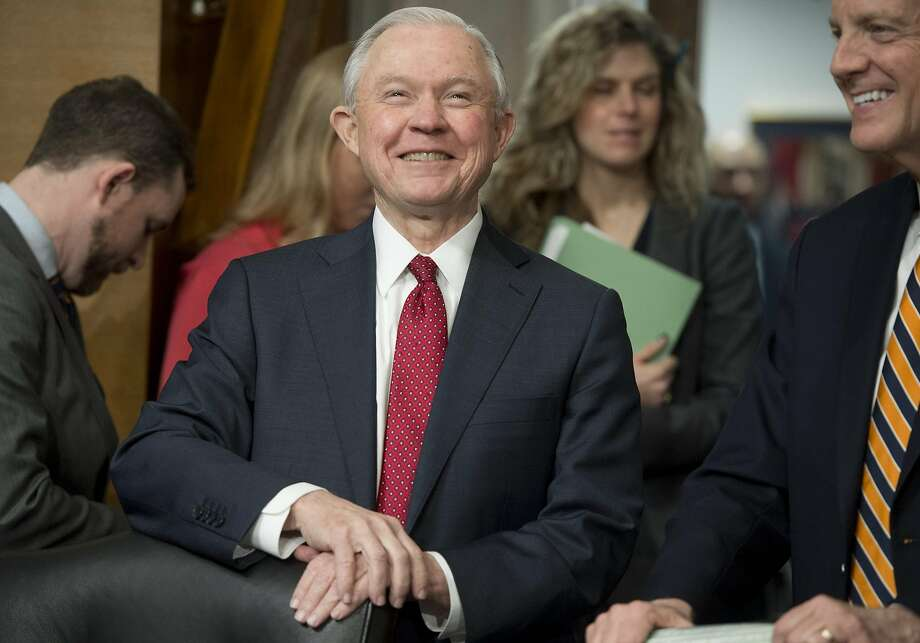 (FILES) This file photo taken on February 2, 2017 shows US Senator Jeff Sessions, Republican of Alabama and nominee for US Attorney General,as he  attends a Senate Environment and Public Works Committee hearing on Capitol Hill in Washington, DC. Tensions over confirming President Donald Trump's cabinet nominees erupted late February 7, 2017 in the US Senate, where a lawmaker's criticism of attorney general pick Jeff Sessions led to the very rare reprimand of a senator.  / AFP PHOTO / SAUL LOEBSAUL LOEB/AFP/Getty Images Photo: SAUL LOEB, AFP/Getty Images