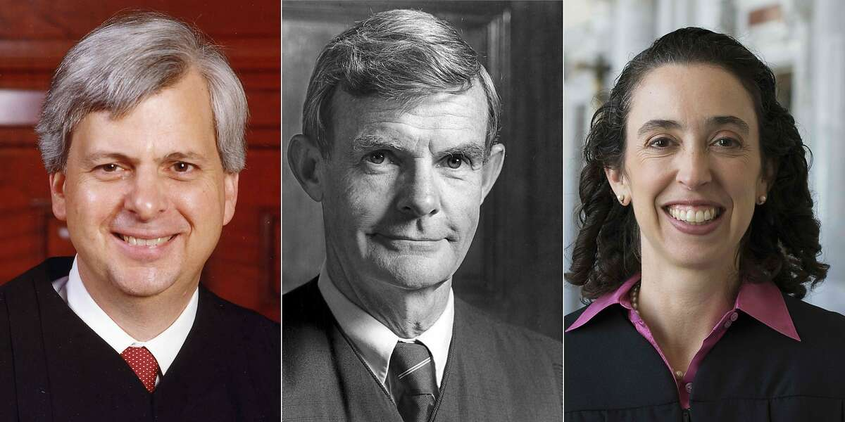 (COMBO) This combination of recent pictures created on February 07, 2017 shows (From L to R) Judge Richard Clifton, Judge William Canby and judge Michelle Friedland from the Ninth Circuit Court of Appeals in San Francisco. The Three federal judges heard arguments on Tuesday in the challenge to Donald Trump's travel ban.