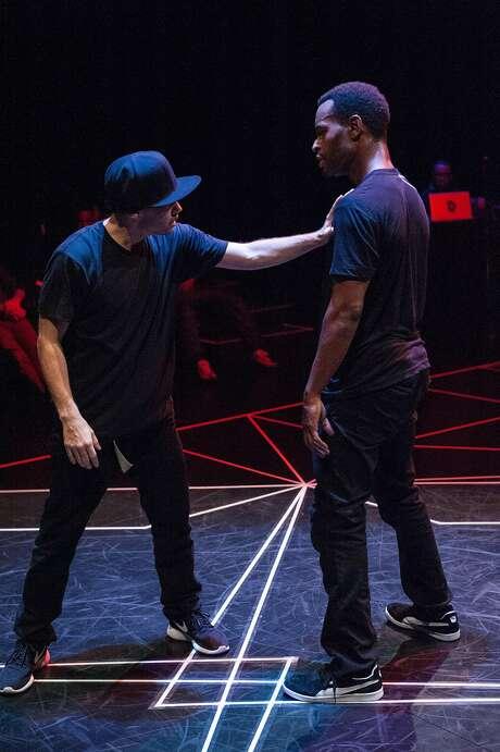 B-boy dancers Fever One (left) and MozesLateef. Photo: Bruce Clayton Tom