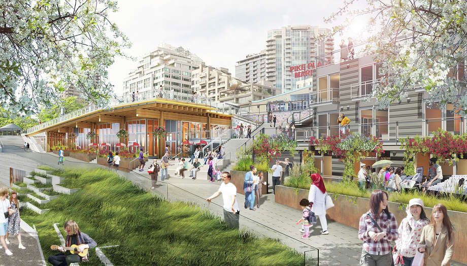 This rendering depicts Pike Place Market's MarketFront expansion, which is scheduled to open to the public in June. Photo: Miller Hull Partnership