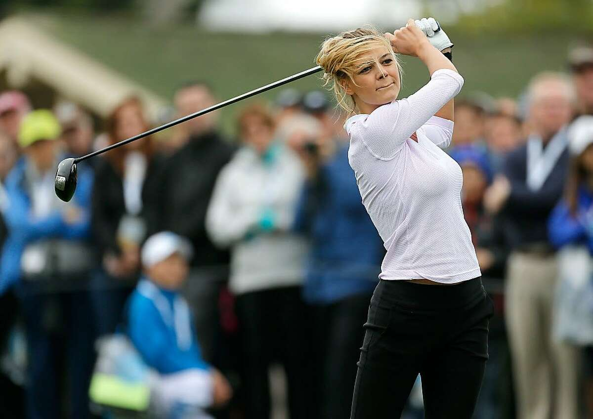 PEBBLE BEACH, CA - FEBRUARY 08: Model Kelly Rohrbach plays in the 3M Celebrity Challenge during a practice round for the AT&T Pebble Beach National Pro-Am at Pebble Beach Golf Links on February 8, 2017 in Pebble Beach, California. (Photo by Jonathan Ferrey/Getty Images)