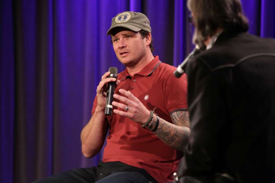 LOS ANGELES, CA - OCTOBER 13: Musician Tom DeLonge speaks onstage at A Conversation With Tom DeLonge at The GRAMMY Museum on October 13, 2015 in Los Angeles, California. (Photo by Rebecca Sapp/WireImage)