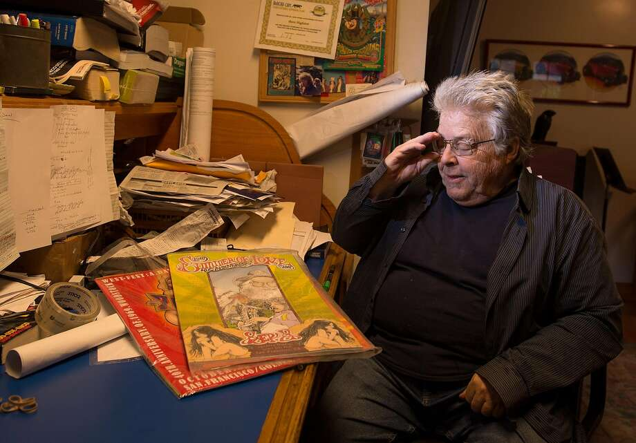 Boots Hughston, promoter for the 50th Anniversary Summer of Love Concert in Golden Gate Park, looks over previously used posters at his home in Mill Valley, California on February 08, 2017. After nine months of work preparing for the concert, he was turned down for a permit from the city of San Francisco. Photo: Josh Edelson, JOSH EDELSON / SAN FRANCISCO CHRONICLE