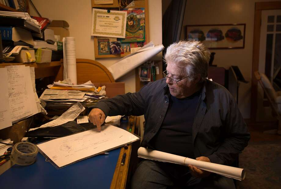Boots Hughston, promoter for the 50th Anniversary Summer of Love Concert in Golden Gate Park, discusses blueprints at his home in Mill Valley last year. He's giving the rejected idea one more go. Photo: Josh Edelson, JOSH EDELSON / SAN FRANCISCO CHRONICLE