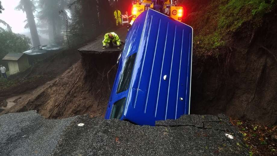 Part of Skyland Road in the Santa Cruz mountains has been washed away by recent storms. Photo: Philip Anderson