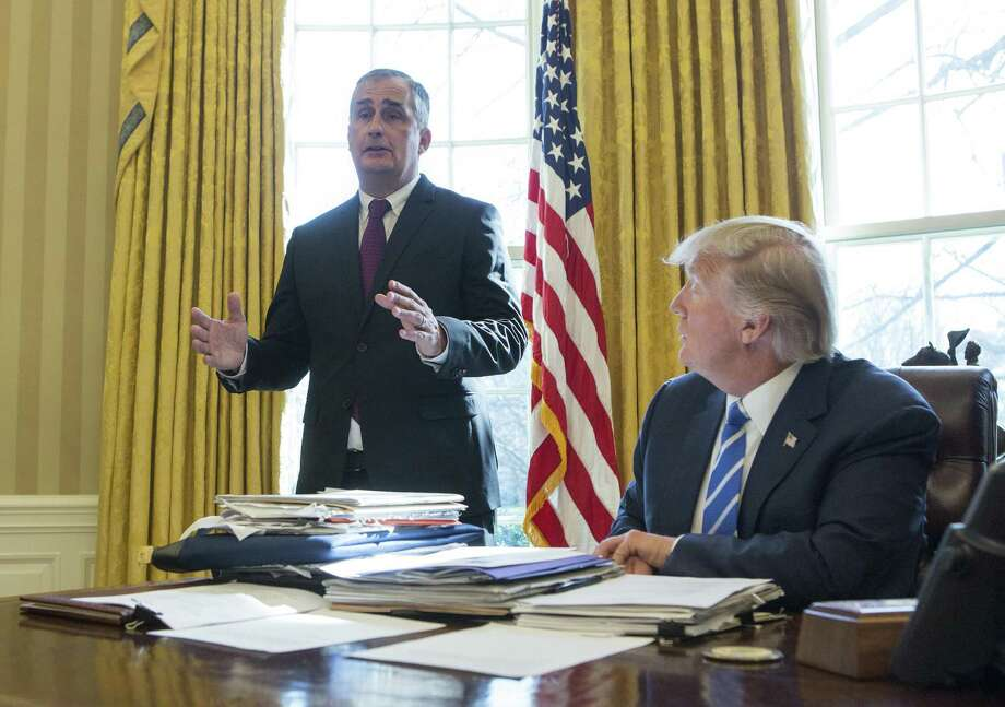 Intel CEO Brian Krzanich said in an Oval Office visit with President Donald Trump that a planned factory in Arizona will employ about 3,000 workers directly — and 10,000 workers in Arizona in support of the factory. Photo: Chris Kleponis /Getty Images / 2017 Getty Images