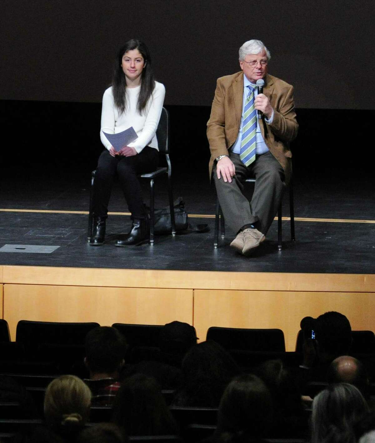 At left, Kathryn Pappas, a Greenwich High School junior, and Interim Superintendent of the Greenwich Public Schools, Sal Corda, were part of the panel during the Greenwich Alliance for Education sponsored screening and panel discussion of the documentary film