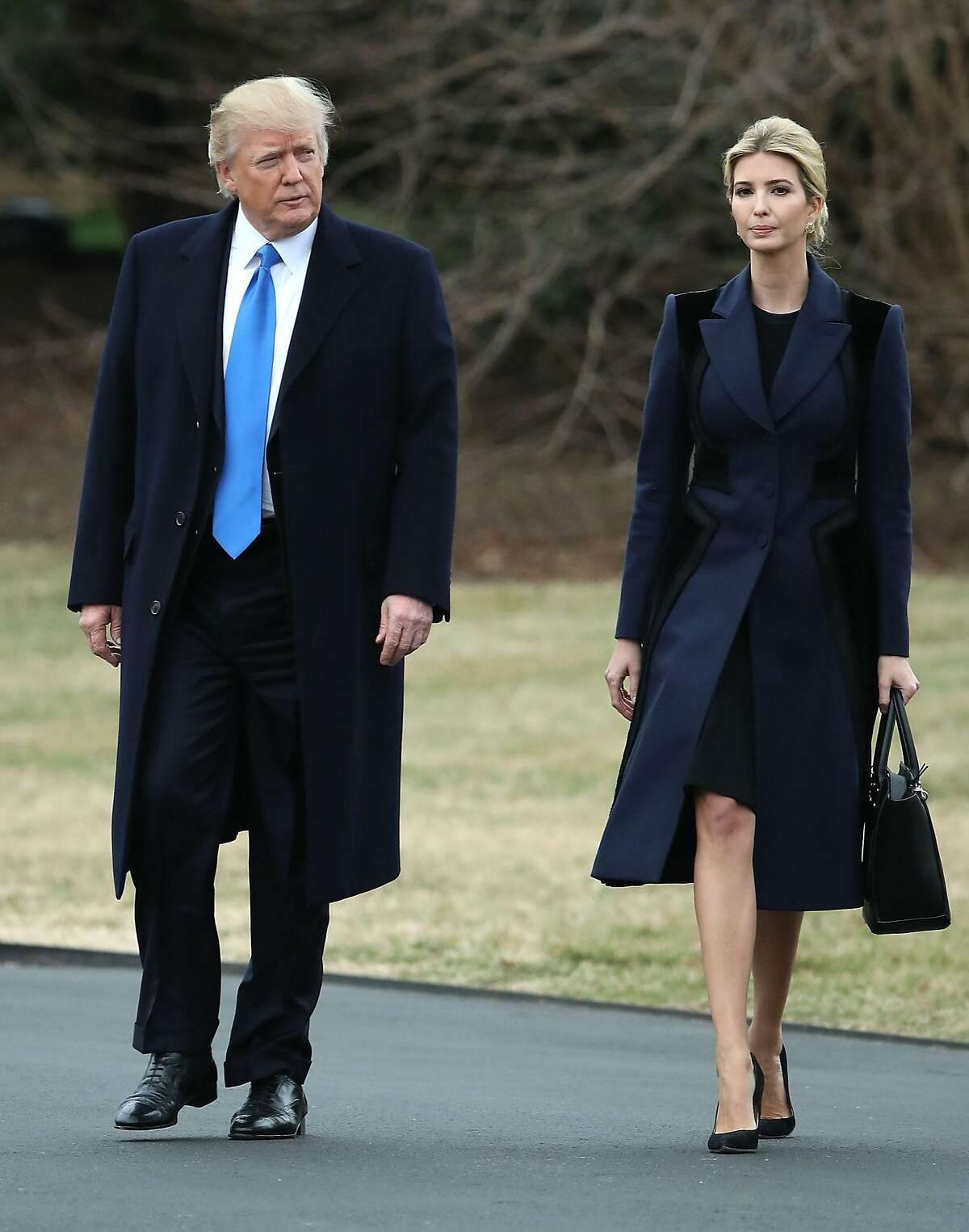 President Trump and daughter Ivanka Trump walk toward Marine One while departing from the White House, on Feb. 1, 2017, in Washington, D.C.