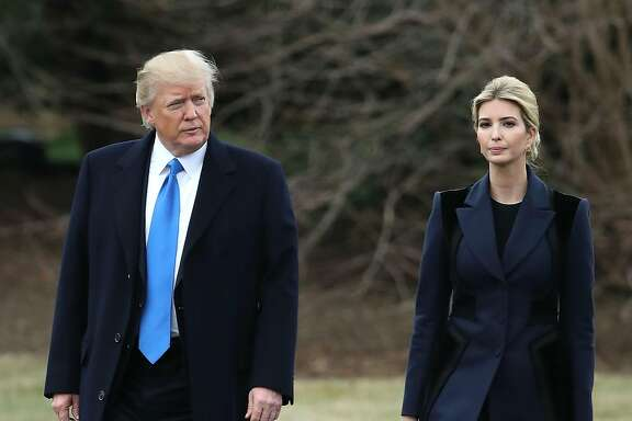 "WASHINGTON, DC - FEBRUARY 01: U.S. President Donald Trump and his daughter Ivanka Trump walk toward Marine One while departing from the White House, on February 1, 2017 in Washington, DC. Trump is making an unnanounced trip to Dover Air Force bace in Delaware to pay his respects to Chief Special Warfare Operator William ""Ryan"" Owens, who was killed during a raid in Yemen. Owens is the first active military service member to die in combat during Trump's presidency. (Photo by Mark Wilson/Getty Images)"