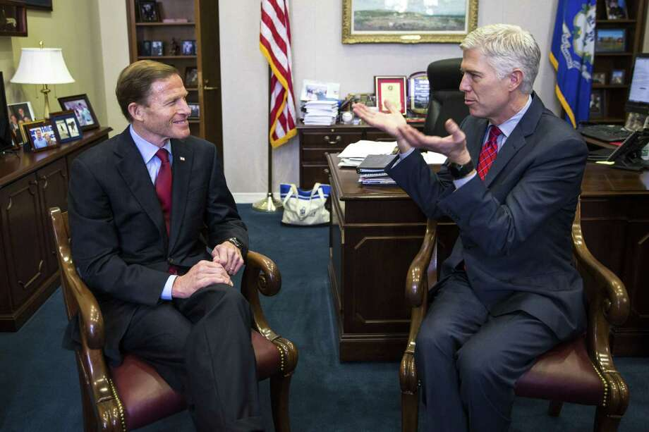Judge Neil Gorsuch, President Donald Trump's pick for the Supreme Court vacancy, meets with Sen. Richard Blumenthal (D-Conn.), in his offices on Capitol Hill in Washington, Feb. 8, 2017. Photo: Al Drago /The New York Times / NYTNS