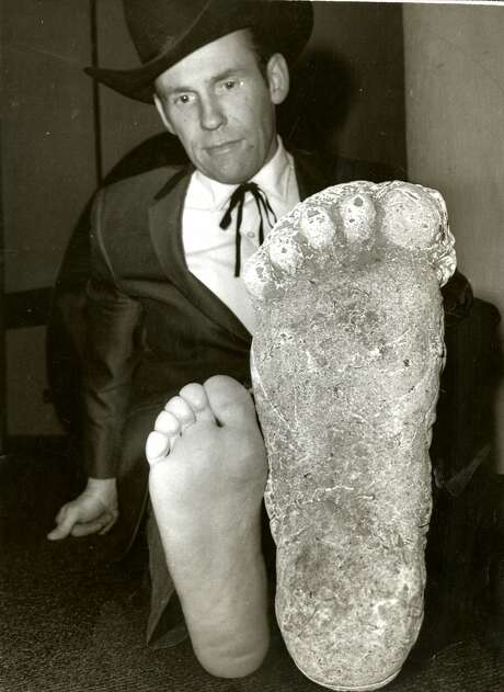 Roger Patterson with the cast of a footprint, purported to be Bigfoot, found near Eureka, California on November 2, 1967.