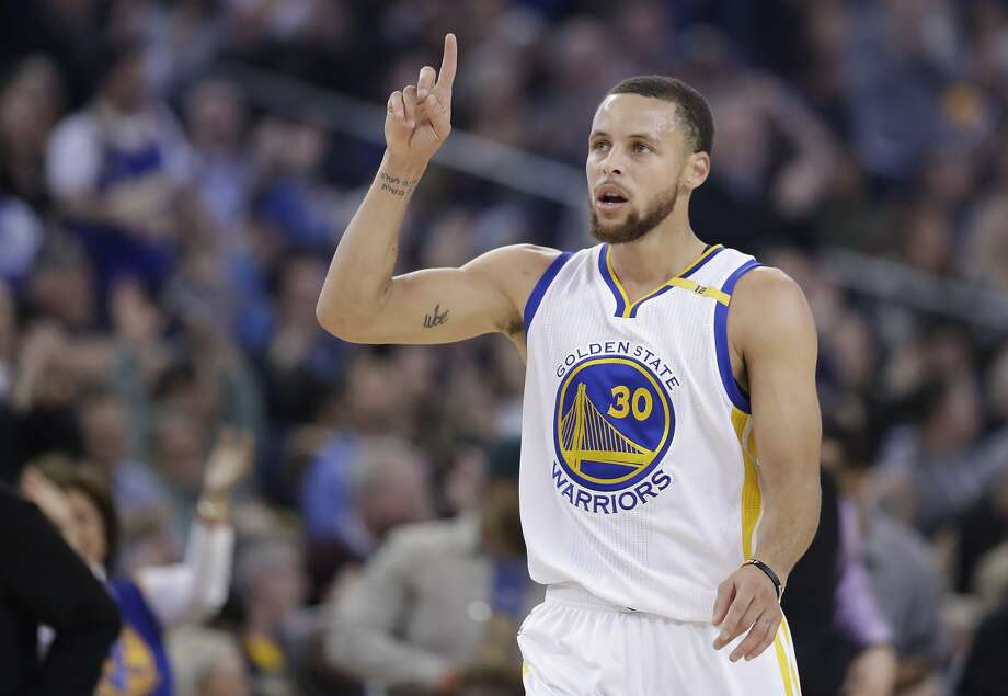 Golden State Warriors' Stephen Curry (30) celebrates after scoring against the Charlotte Hornets during the first half of an NBA basketball game Wednesday, Feb. 1, 2017, in Oakland, Calif. (AP Photo/Marcio Jose Sanchez) Photo: Marcio Jose Sanchez, Associated Press