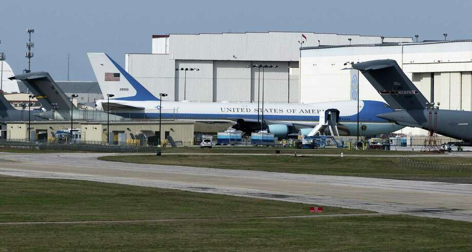 Air Force One sits outside Boeing Co.'s Port San Antonio maintenance facility this week. The modified Boeing 747, tail number 29000, commonly called Air Force One is seen Tuesday. Photo: William Luther /San Antonio Express-News / © 2017 San Antonio Express-News