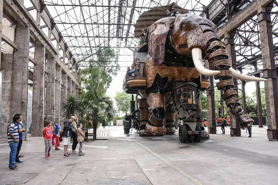 The Great Elephant, one of the giant, mechanized animals on the Island of Nantes in the Loire River alongside Nantes city. Photo: Margo Pfeiff, Special To The Chronicle