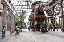 The Great Elephant, one of the giant, mechanized animals on the Island of Nantes in the Loire River alongside Nantes city.