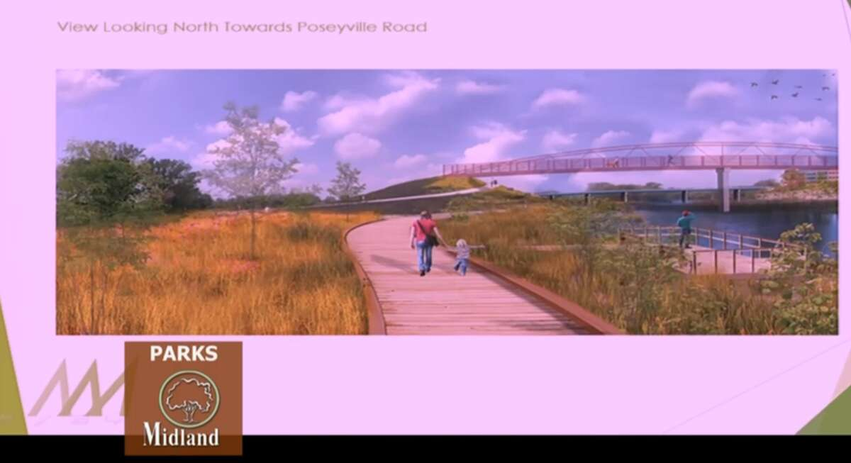 This screenshot shows a rendering of a proposed overlook as part of Momentum Midland's plan to redevelop the former 4D site.