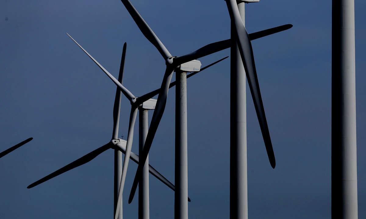 Desert Sky Wind Farm turbines twirl in the January 2017 wind near Iraan, Texas. The power generated goes to San Antonio. (John Davenport / San Antonio Express-News)