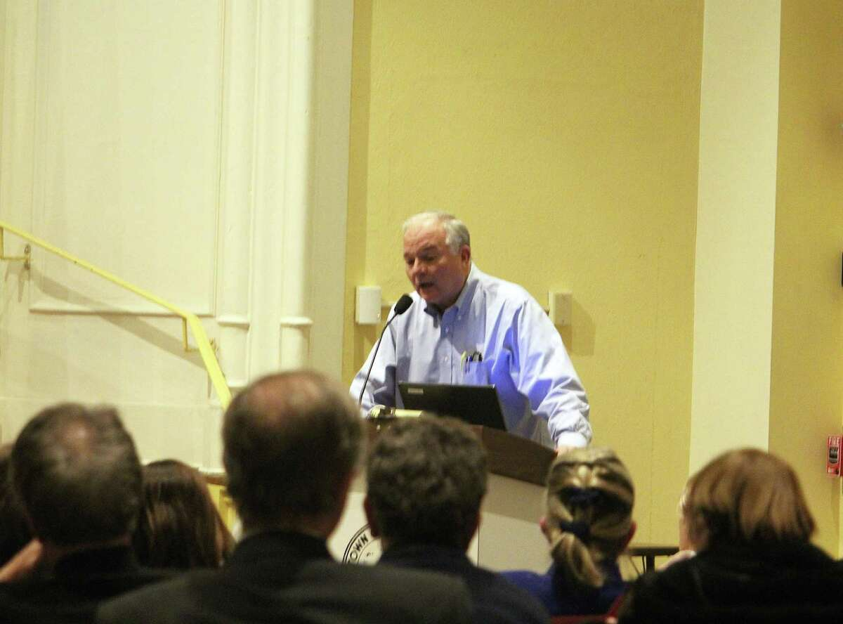 Parks and Recreation Commission Chairman Charles Haberstroh speaks at the Representative Town Meeting Tuesday.