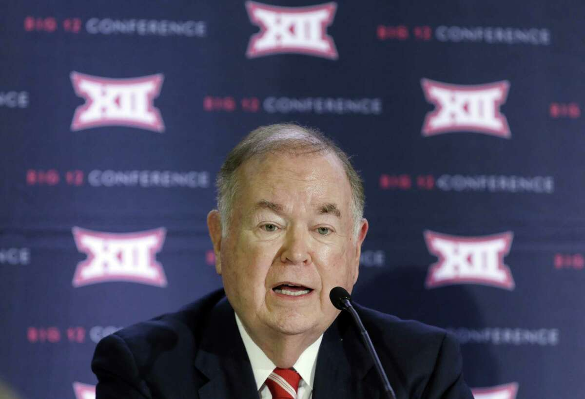 FILE - In this June 2, 2016, file photo, University of Oklahoma President David Boren, the Big 12 Conference Board of Directors chairman, speaks to reporters after the second day of the Big 12 sports conference meetings in Irving, Texas. The Big 12 said Wednesday, Feb. 8, 2017, it will withhold 25 percent of Baylor's share of conference revenue until an outside review of the athletic department determines whether the school is in compliance with conference regulations and Title IX guidelines following its sexual assault scandal that has rocked the school. (AP Photo/LM Otero, File) ORG XMIT: NY151