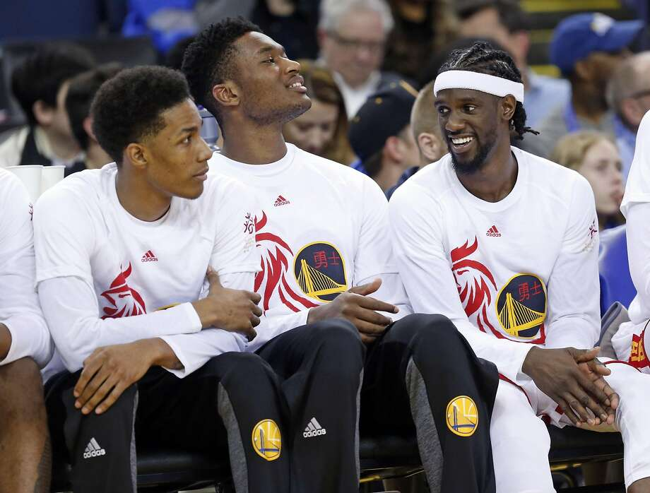 Golden State Warriors' Patrick McCaw, Damian Jones and Briante Weber during Warriors' 123-92 win over Chicago Bulls in NBA game at Oracle Arena in Oakland, Calif., on Wednesday, February 8, 2017. Photo: Scott Strazzante, The Chronicle