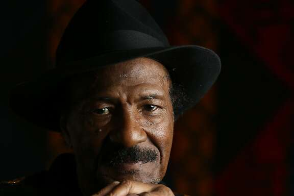 Clarence Sims, known by his stage name Fillmore Slim, sits for a portrait on Wednesday, Feb. 8, 2017, in Redwood City, Calif. He is a Blues vocalist and guitarist performing Feb. 24 and Feb. 25 at Eli's Mile High Club in Oakland, where he recorded his first album, Born to Sing the Blues.