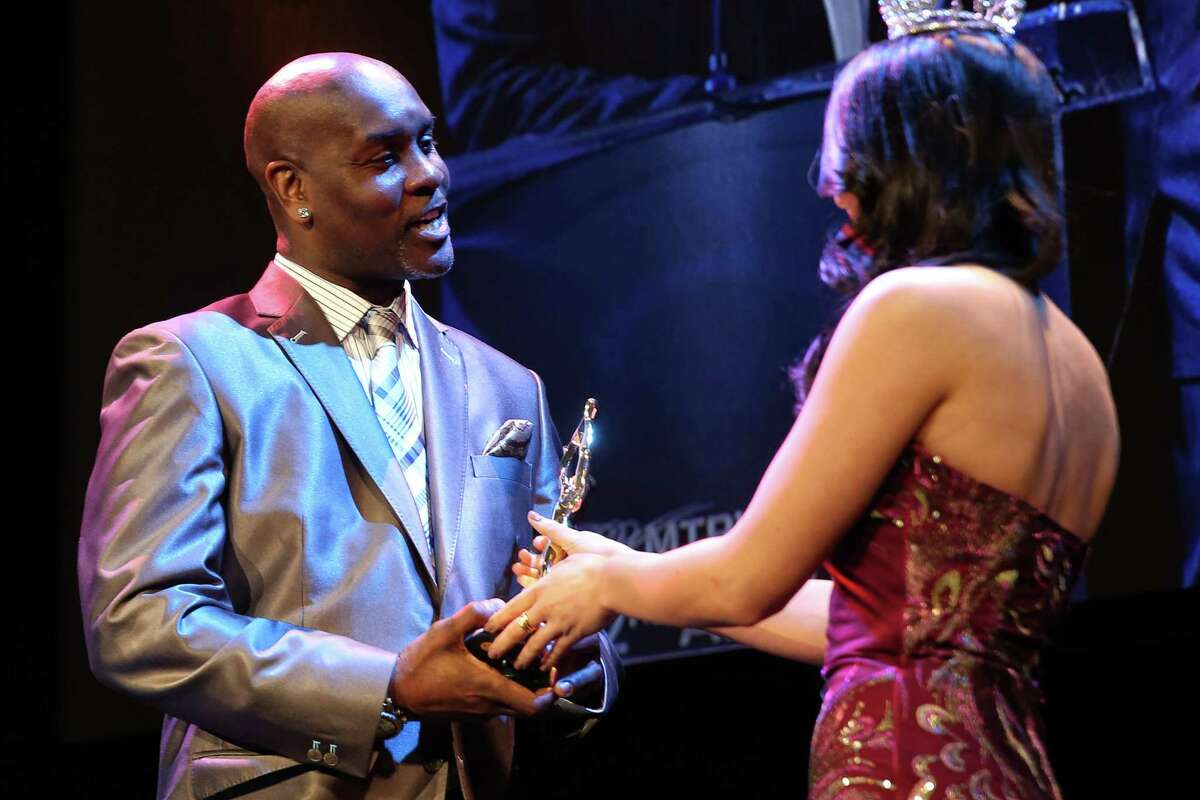 Former Seattle Supersonic Gary Payton is presented with the 2016 Royal Brougham Award during the MTRWestern 82nd Annual Sports Star of the Year Awards, Feb. 8, 2017, at the Paramount Theater.