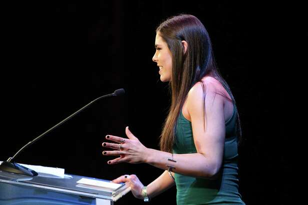 UW basketball player Kelsey Plum accepts the 2016 Female Sports Star of the Year Award during the MTRWestern 82nd Annual Sports Star of the Year Awards, Feb. 8, 2017, at the Paramount Theater.
