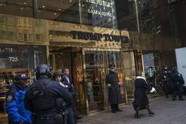 FILE Ñ Security outside Trump Tower on Fifth Avenue, in Manhattan, Jan. 18, 2017. The Department of Defense has regularly rented space for military aides carrying the Ònuclear footballÓ to stay when the president travels, and will be doing so at Trump Tower, a move that raises questions of money going directly to President Donald Trump. (Victor J. Blue/The New York Times)
