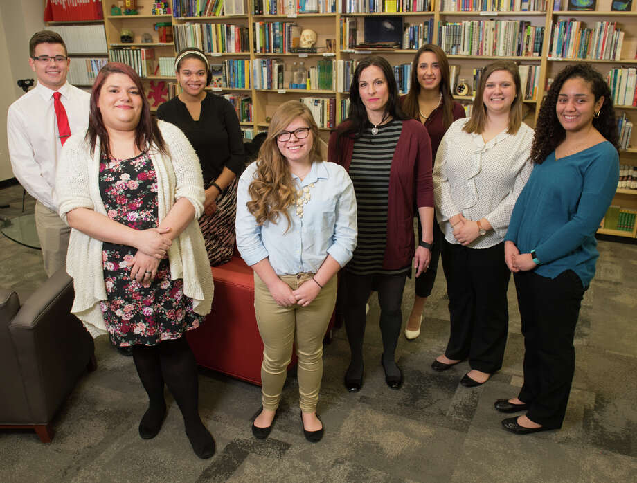 The 2016-17 Noyce Math and Science Scholars include, from left: Lucas Meyer, of Staunton; Mona Tedder, of Granite City; Nicole Dowell, of Cahokia; Amanda Parga, of Greenview; Holly Owens, of Edwardsville; Amelia Teare, of Kirkwood, Mo.; Marie Gipson, of Creal Springs; and Breanna Blackwell, of New Berlin. Photo: SIUE Photo