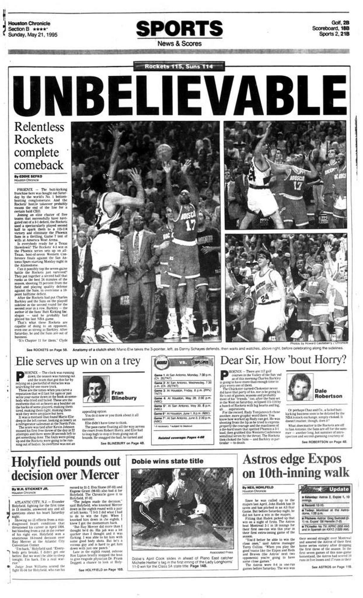 The next day's Houston Chronicle sports section front page following the Rockets' Game 7 victory at Phoenix in the 1995 Western Conference semifinals.