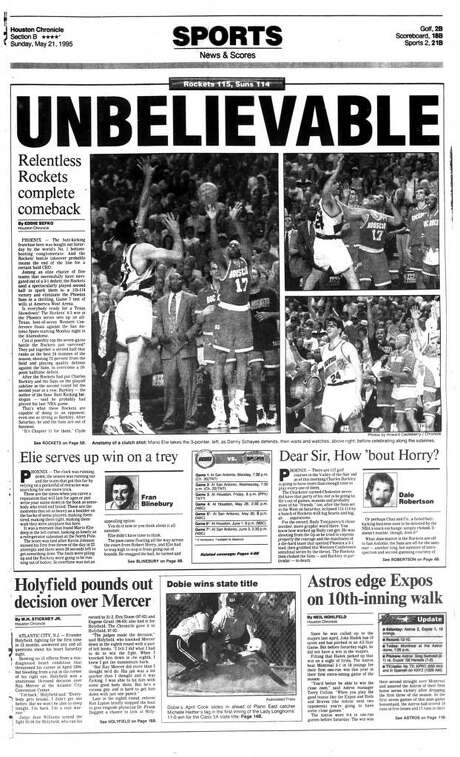 """The May 21, 1995, front page of the Houston Chronicle sports section the day after Mario Elie's iconic """"Kiss of Death"""" shot in Game 7 against the Suns."""