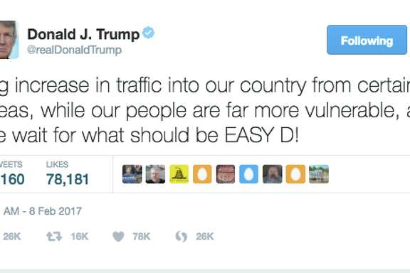 "Trump sent this out while  waiting for the Ninth U.S. Circuit Court of Appeals  in San Francisco to make a ruling on whether to reinstate President Trump's travel ban. His use of ""Easy D"" sent  some on the Internet into fits of laughter , especially since many use ""D"" as a nickname for male genitalia.  Others  joked ""Easy D"" was Trump's rap name."